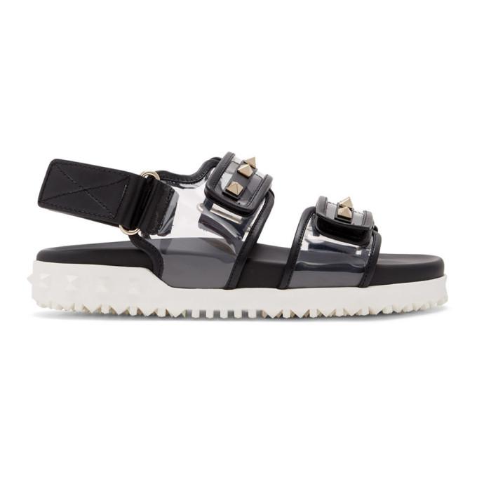 Buy Valentino Black and Transparent Valentino Garavani Rockstud Sandals online