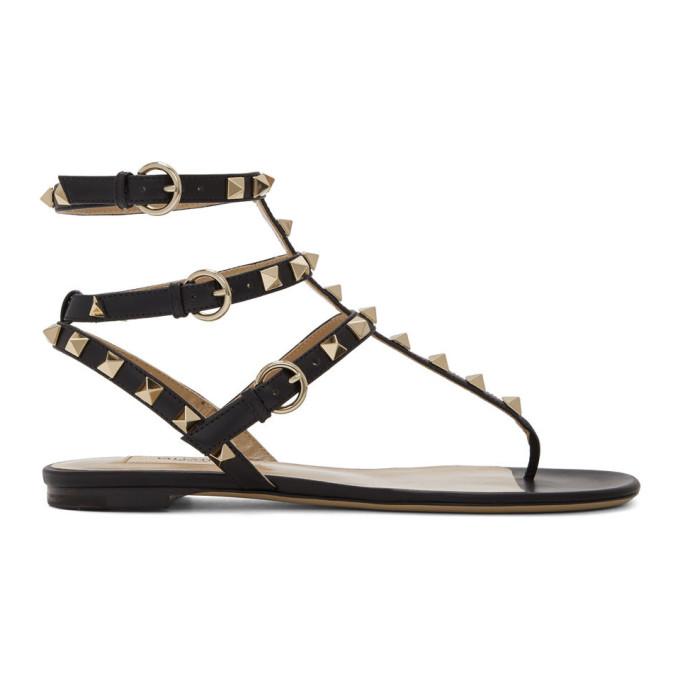 Buy Valentino Black Valentino Garavani Rockstud Ankle Strap Flat Sandals online