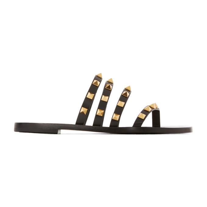 Buy Valentino Black Valentino Garavani Rockstud Flair Thong Sandals online
