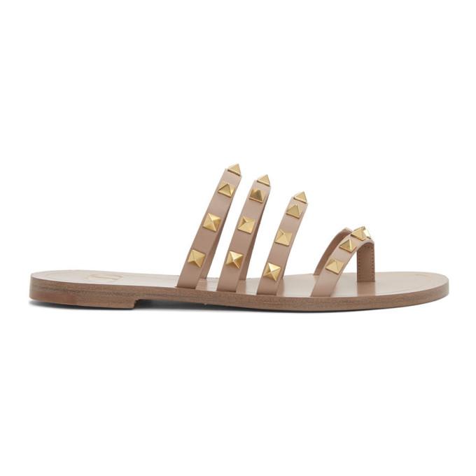 Buy Valentino Pink Valentino Garavani Rockstud Slip-On Sandals online