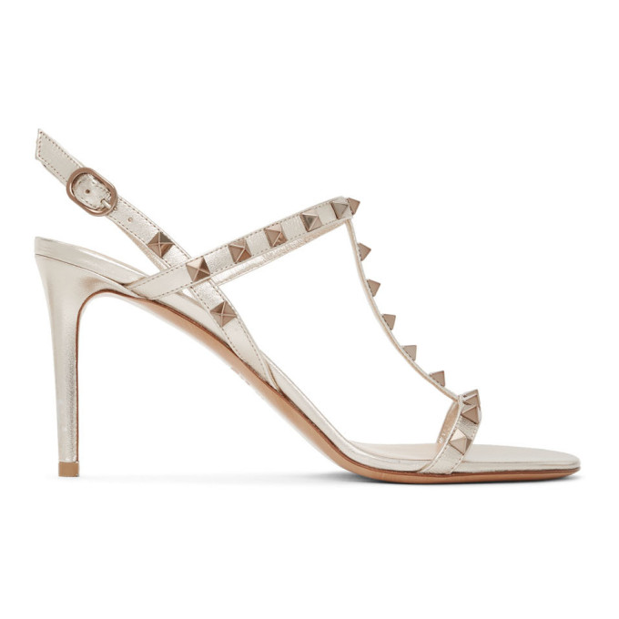 Buy Valentino Beige Valentino Garavani Rockstud Slingback Sandals online