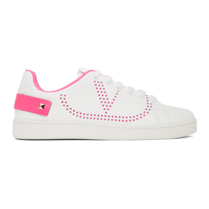Valentino Garavani Blancknet Sneakers In White And Fuchsia In Td4 Pink