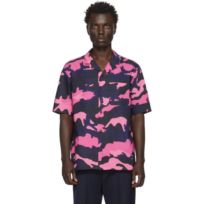 Valentino Chemise a motif camouflage rose et bleu marine