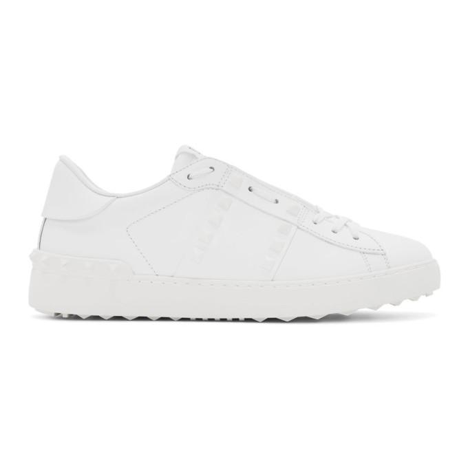 Valentino Garavani Garavani Open Rockstud Leather Sneakers In 0bo White