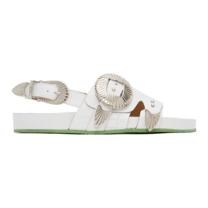 Toga Pulla Sandales embossees facon croco a boucles surdimensionnees blanches
