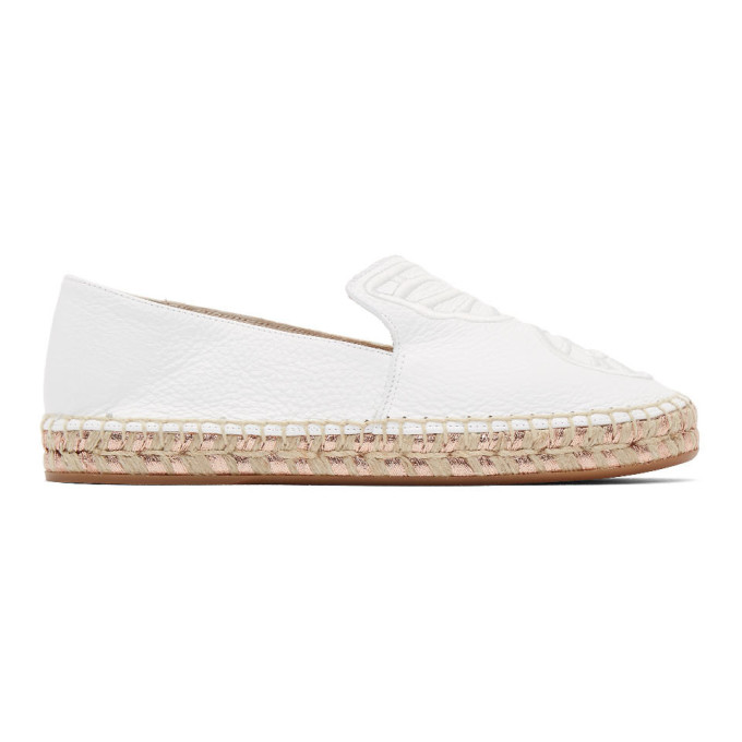 Sophia Webster Butterfly Wing Embroidery Espadrilles In White
