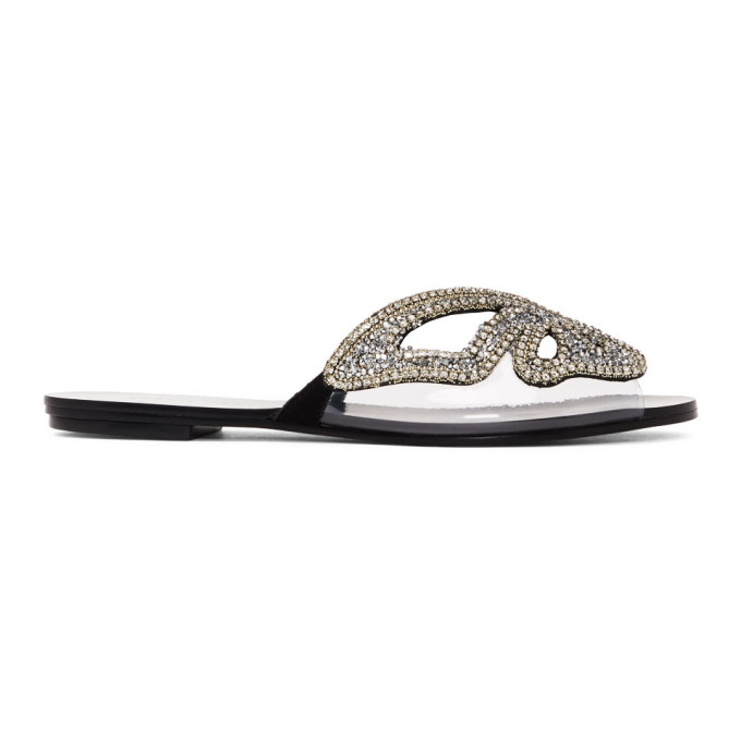 Buy Sophia Webster Black and Silver Madame Butterfly Crystal Sandals online