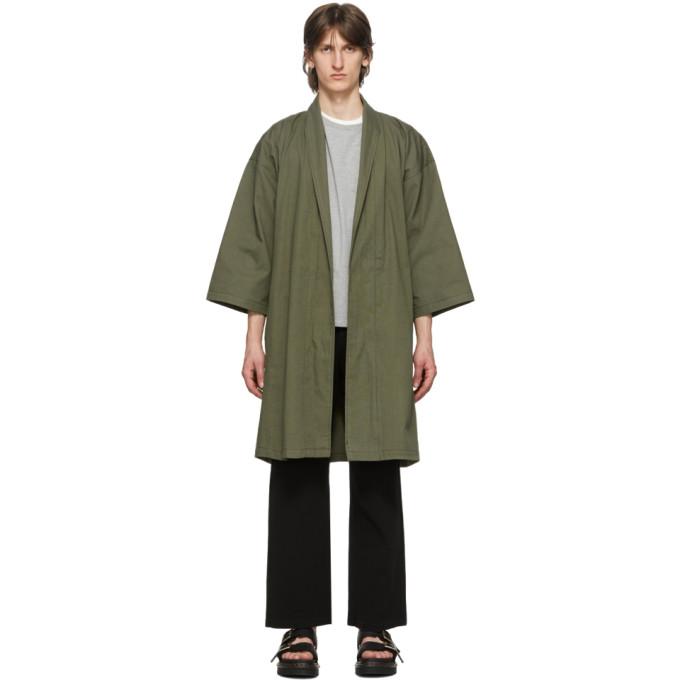 Naked and Famous Denim Manteau en toile oxford de coton vert exclusif a SSENSE