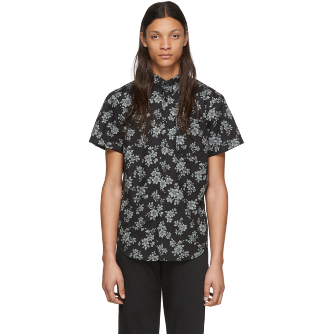 Naked and Famous Denim Chemise noire Floral Sketch