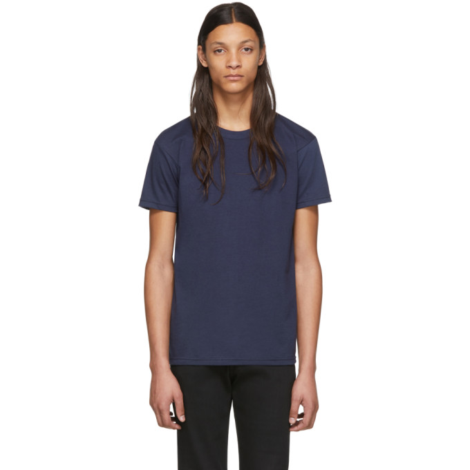 Naked and Famous Denim T-shirt en maille circulaire bleu marine