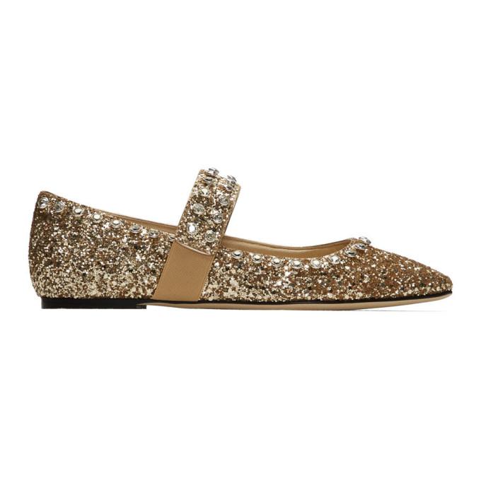 Buy Jimmy Choo Gold Glitter Minette Flats online