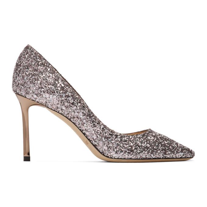 Buy Jimmy Choo Purple Glitter Romy 85 Heels online