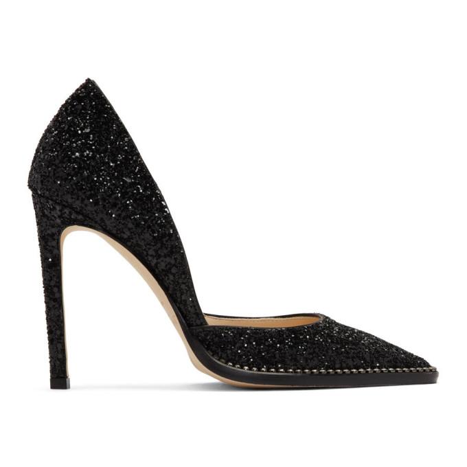 Buy Jimmy Choo Black Glitter Babette 100 Heels online