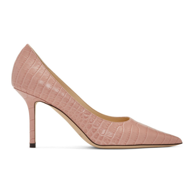 Buy Jimmy Choo Pink Croc Love 85 Heels online
