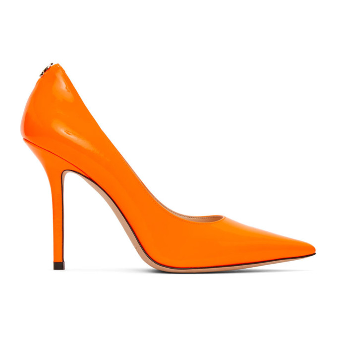 Buy Jimmy Choo Orange Patent Love 100 Heel online