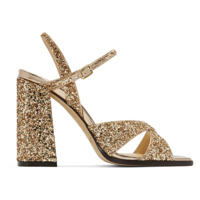 Buy Jimmy Choo Gold Glitter Joya Heeled Sandals online