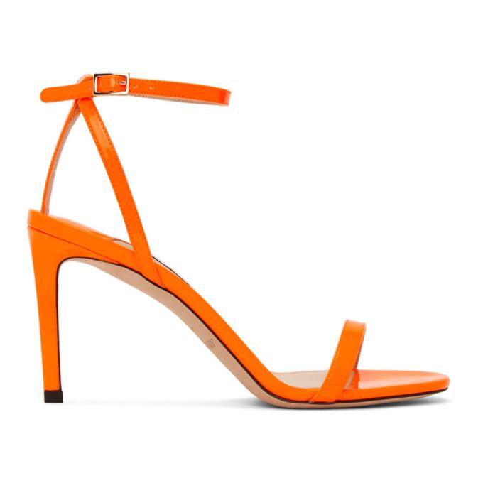 Buy Jimmy Choo Orange Patent Minny 85 Sandals online