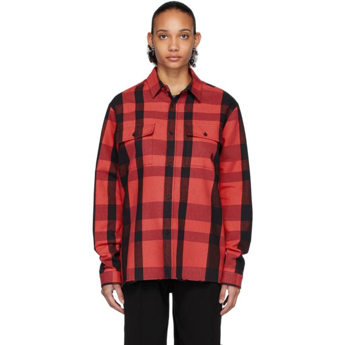 Marcelo Burlon County of Milan Chemise a logo et carreaux rouge et noire