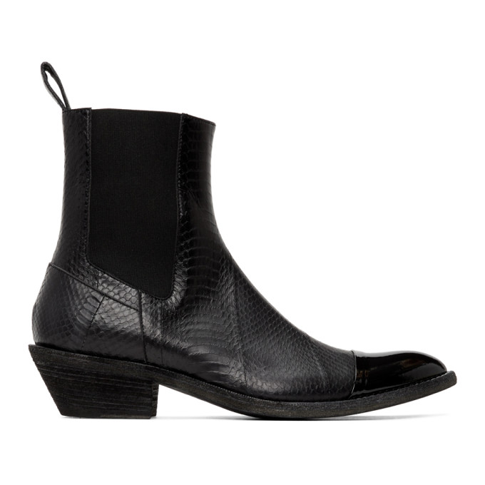 Haider Ackermann Bottes noires Elasticated Cowboy
