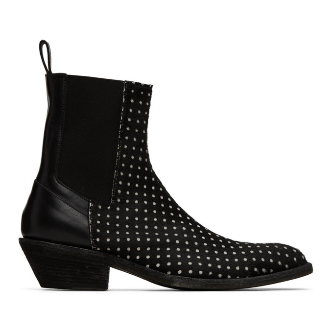 Haider Ackermann Bottes chelsea a pois noires Elasticated