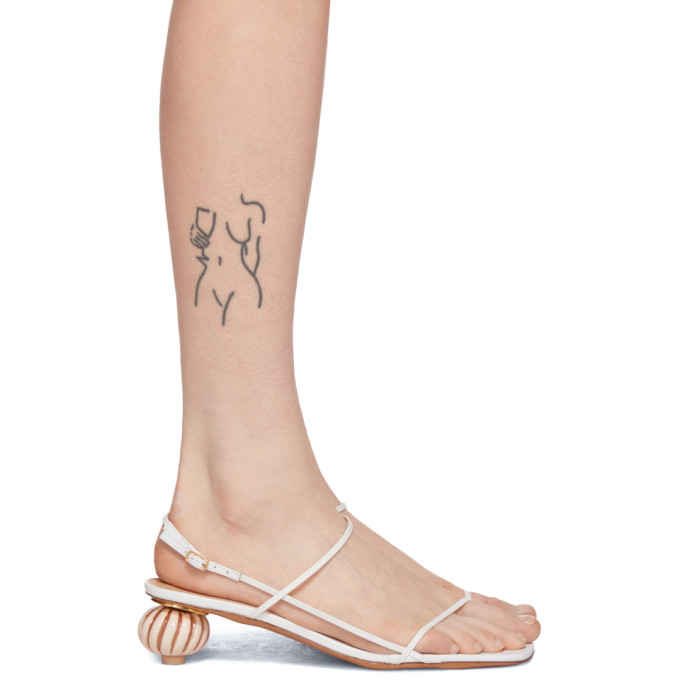 Jacquemus 'les Sandales' Asymmetric Ball Heel Sandals In White