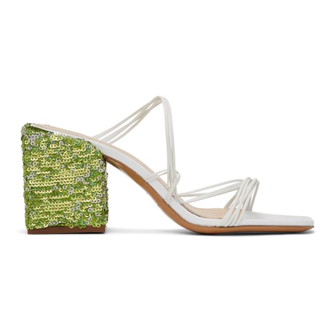 Jacquemus 'les Mules Estello' Square Toe Sequin Heeled Sandals In White