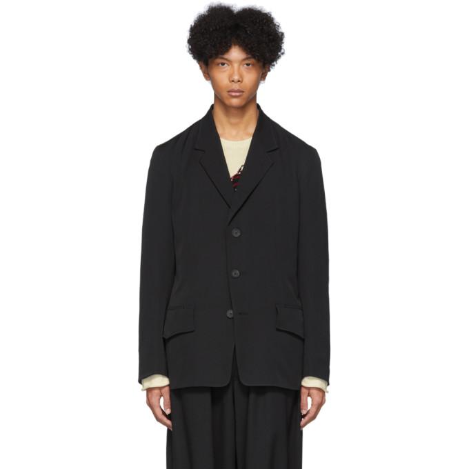 Yohji Yamamoto Blazer en laine noir Short Flap