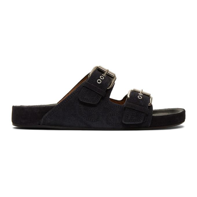 Buy Isabel Marant Black Suede Lennyo Sandals online