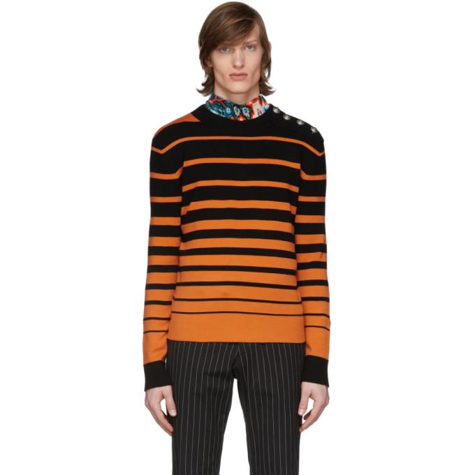 Paco Rabanne Wools PACO RABANNE BLACK AND ORANGE SAILOR SWEATER