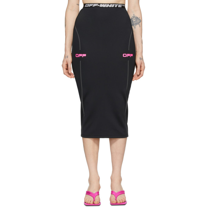 Off-white Active Stretch Tech Fabric Pencil Skirt In Black/fuchs