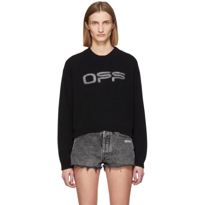 Off-white Black Unisex Off Logo Knit Sweater In Black/white