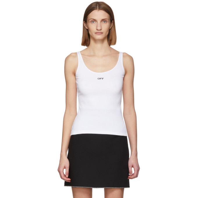 Off-white Off Print Ribbed Cotton Tank Top In White/black