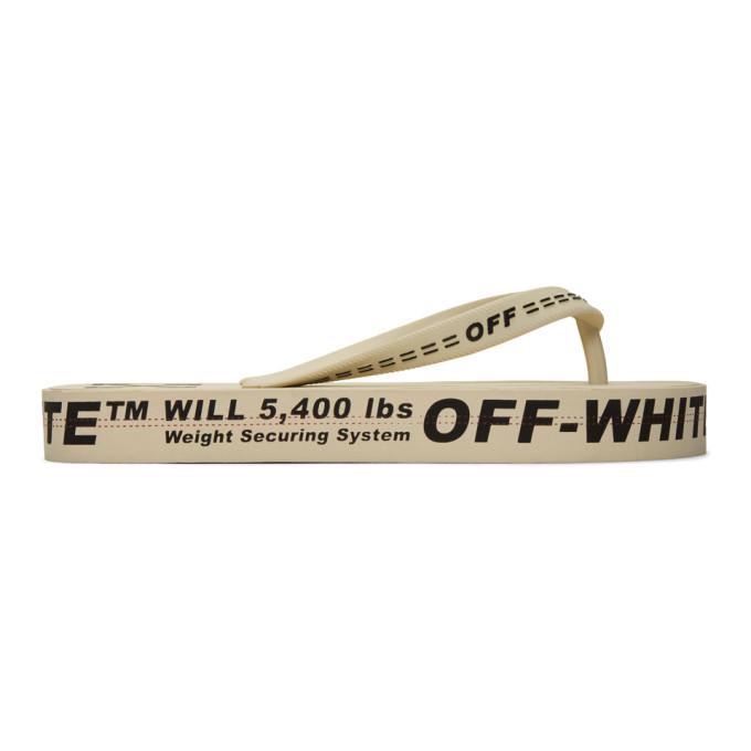 Buy Off-White Beige Logo Flip Flops online