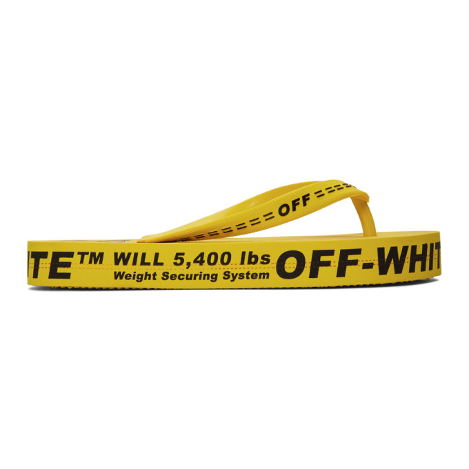 Off-White Yellow Logo Flip Flops