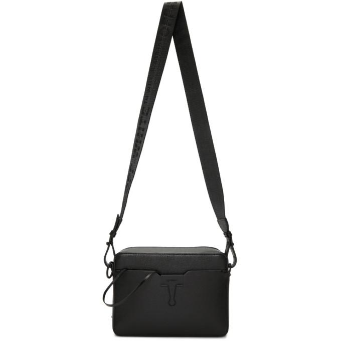 Off-white Men's Binder Clip Leather Camera Bag In Black