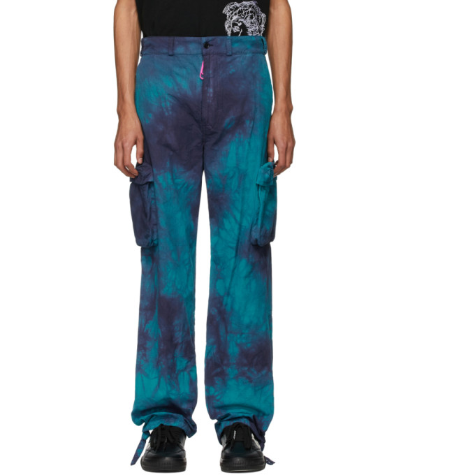 Off-white Ripstop Tie-dye Mid-rise Cotton Trousers In Blau