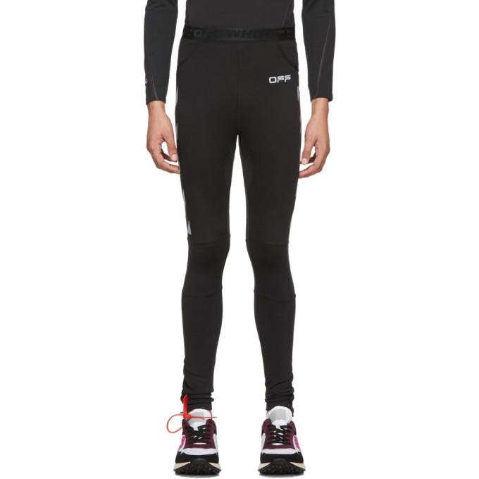Off-White Legging noir et argente Running