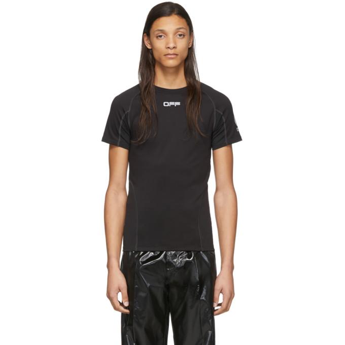Off-White T-shirt noir et argente Running