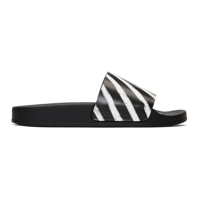 Off-white Spray Black Striped Rubber Sliders In Black/white