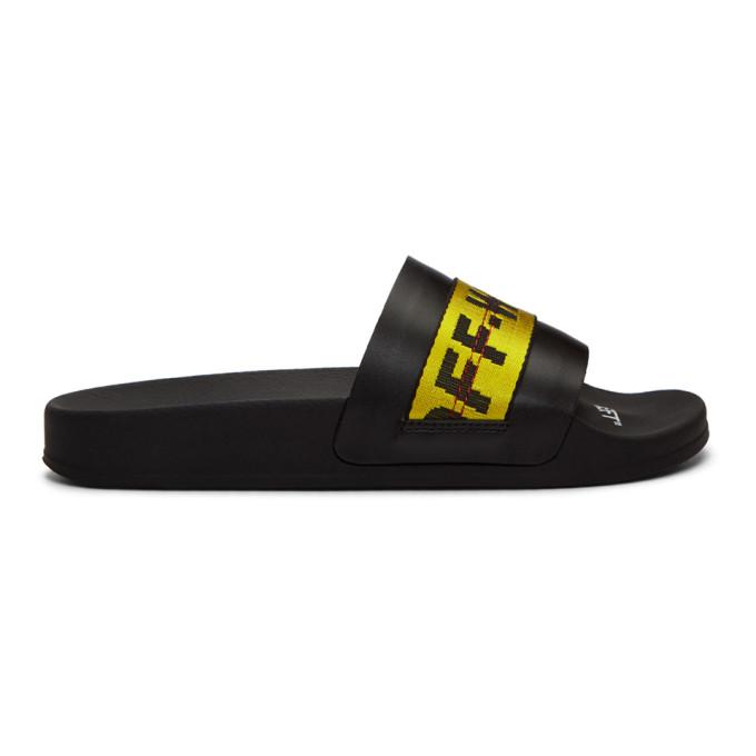 Off-white Black And Yellow Industrial Strap Slides In Black/yellow