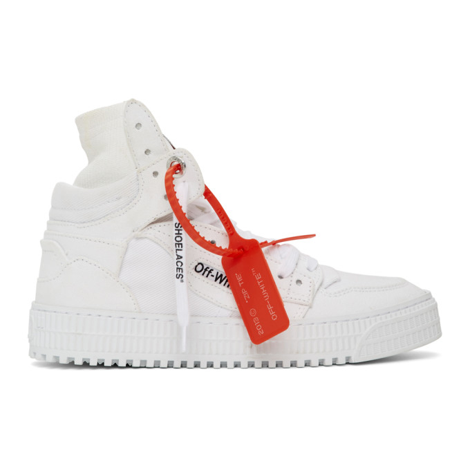 Off-white Off Court 3.0 Leather And Canvas High-top Sneakers In 0100 White