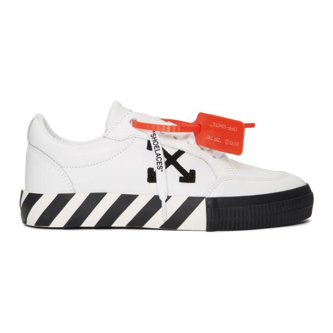 Off-white Logo-appliquÉd Full-grain Leather Sneakers In 0110 Whtblk