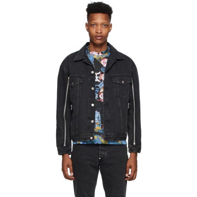 Johnlawrencesullivan Blouson en denim decolore noir Zip
