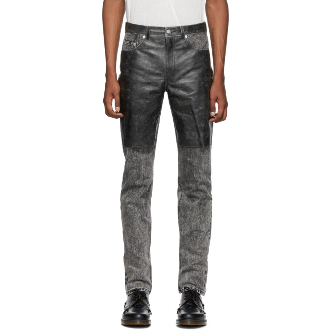 Johnlawrencesullivan Jean gris et noir Cracked Leather