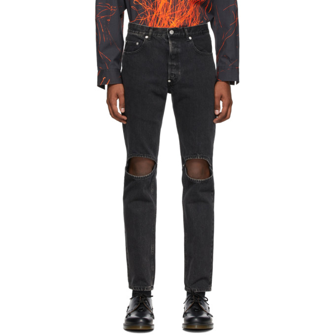 Johnlawrencesullivan Black Bleached Knee Hole Jeans