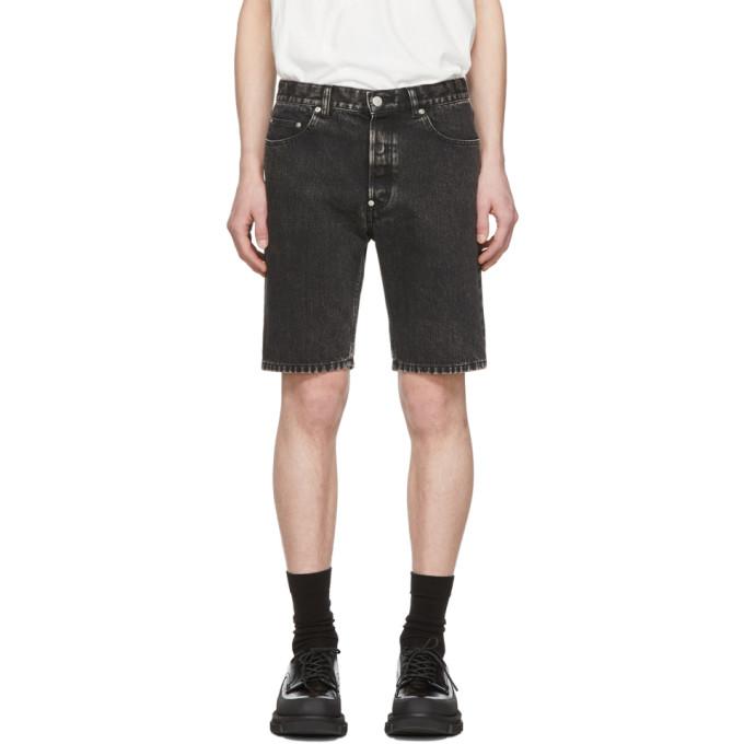 Johnlawrencesullivan Black Denim Bleached Shorts