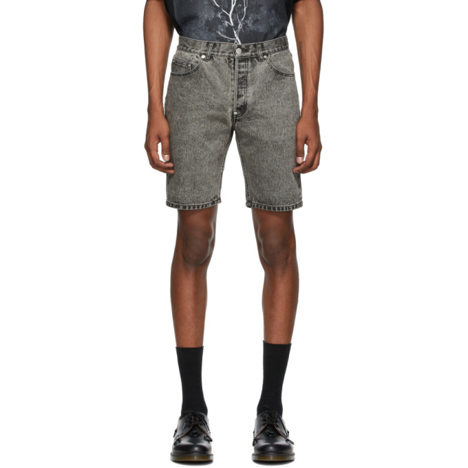 Johnlawrencesullivan Short en denim a effet decolore gris
