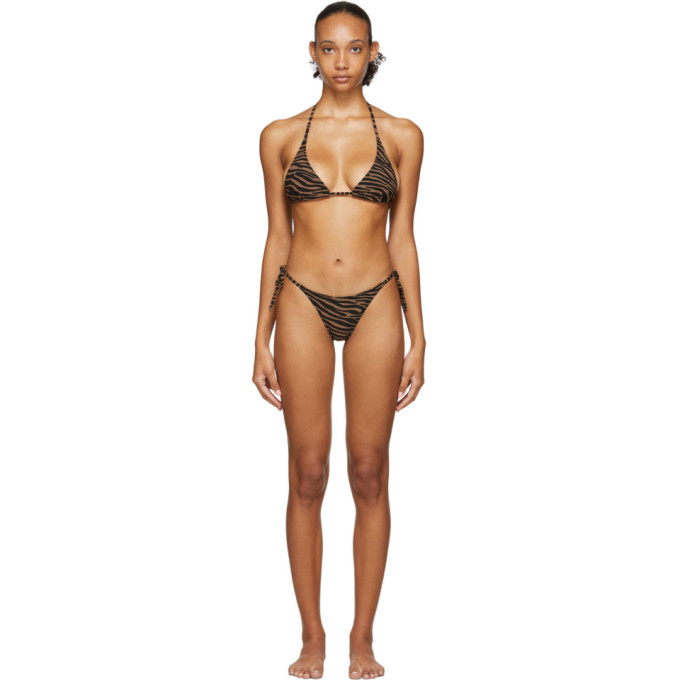 Lisa Marie Fernandez Bikini a motif zebre noir et brun Pamela