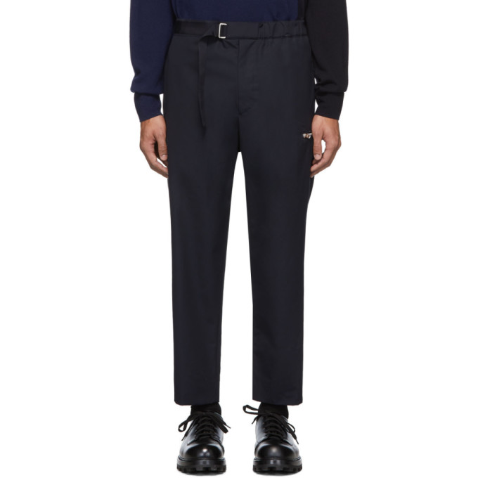 OAMC Pantalon en coton bleu marine Regs