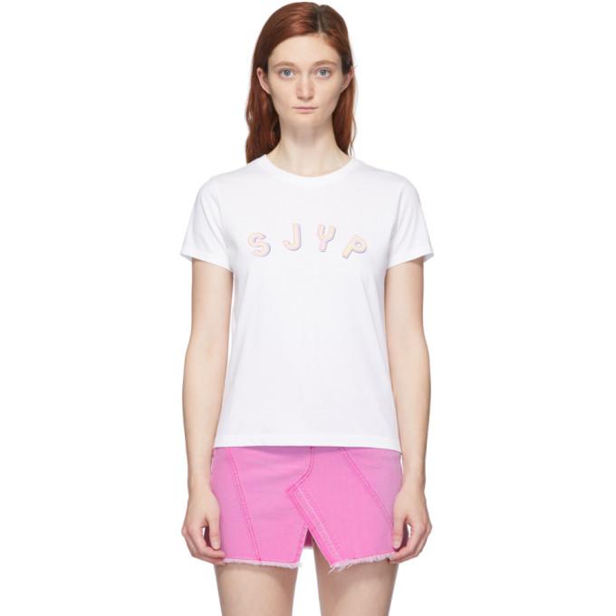 SJYP T-shirt a logo blanc